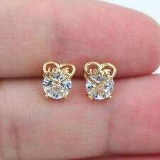 HOT 18K Gold Filled Clear Mystical Topaz Women Love Hearts Stud Earrings Jewelry