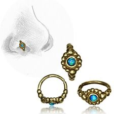 20G TRIBAL BRASS NOSE RING 7MM RING NOSE STUD HELIX FAUX BLUE OPAL STONE HOOP