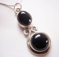 Black Onyx Double Gem 925 Sterling Silver Pendant Corona Sun Jewelry