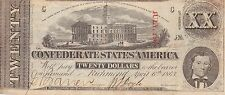 Ships FREE-Confederate States of America Type 58 $20.00 Note in VF Condition