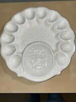 Vintage White Ceramic Deviled Egg And Appetizer Tray-Floral