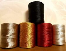 Large Silk Rayon Embroidery Machine Thread Strong Spools Solid basic Colors x 5