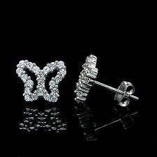 0.50CT Round Created Diamond Butterfly Stud Earrings 14k White Gold Open Design