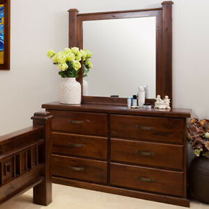 SOLID WOOD RUSTIC DRESSER WITH MIRROR
