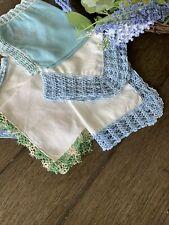 Vintage Cotton Linen Crocheted Lace Ladies Handkerchiefs Lot Of 5 Blue