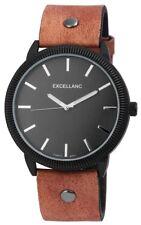 Men's Watch Brown Black Analogue Quartz Metal Leather Modern W-295071200183500
