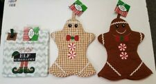 (Set Of 3) Gingerbread Christmas Oven Mitts (2) and Elf Pot Holder (1)