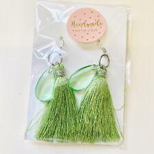 Green Glass Tassel Earrings Silver Plated Handmade Kawaii Boho Chic Gift Y2k 90s