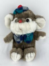 """New listing Mouse Stuffed Toy Plush Animal Brown White Red Nose Soft Hat Bow Tie Kids 10"""""""