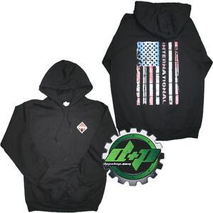 International BLACK Sweatshirt sweat shirt Hoodie truck diesel american Flag MD