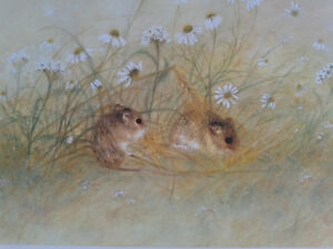 Jane Neville. Limited edition print of Mice amongst daisies. Unframed.