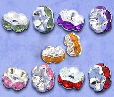 100 Mixte Perles Intercalaires Strass Argenté 8x4mm