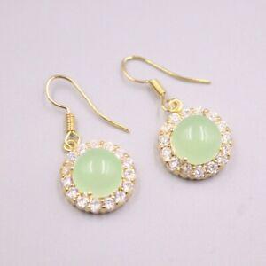 GP 18K Gold Plated Heating Jade Earrings Zircon Round Dangle Earrings 30x14mm
