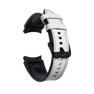 For Samsung Galaxy Watch 4 42mm 46mm 40/44mm Hybrid Leather Silicone Band Strap