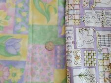 Spring Flowers & Religious Easter Print Fabric Cotton LOT 3.25+ YARDS