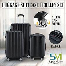 3PCS ABS Luggage Set Travel Hardshell Spinner Suitcase Carry on w/TSA Lock Black