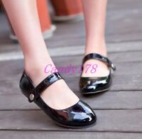 New Womens Lolita Flats Rouns Toe Mary Jane Ankle Strap Casual Shoes Plus Size