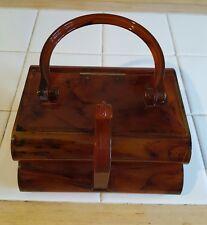 Vtg Lucite Elsa MFG purse box case tortise shell