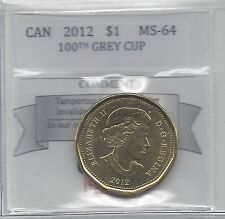 **2012** Coin Mart Graded Canadian, 100th Anniv Grey Cup, Loon Dollar, **MS-64*