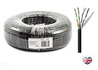 50m Cat5e-CCA External Film Lined Outdoor Solid Network Cable Reel BLACK Cat 5e