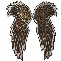 Sequin Wings Plain XL (Sew On) Embroidery Applique Patch Sew Iron Badge