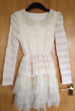 Kawaii Harajuku Cream Ruffle Dress UK 6-8 Great Condition