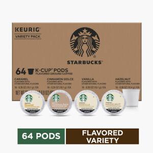 Starbucks Flavored K-Cup Coffee 64 Pods — Variety Pack for Keurig BBD 12/2020