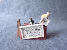 More details for colour box miniatures home sweet home by peter fagan hsp01 sign, cat figurine