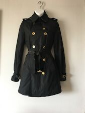 BURBERRY LONDON BLACK BELTED DOUBLE BREASTED TRENCH COAT JACKET SIZE US 2