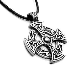 Solar Celtic Cross Pagan Pendant Necklace (Wicca Destiny Knot Triquetra)