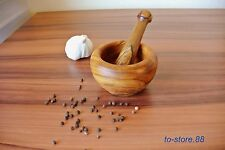 Mörser mit Stößel aus 100% natürlichem Olivenholz – Durchmesser 10 cm