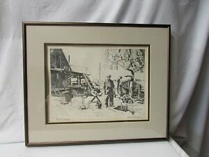 "Vintage Lionel Barrymore Etching "" Point Mugu"" Professionally Framed"