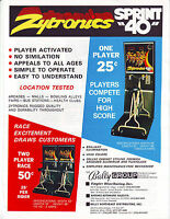 ZYTRONICS SPRINT 40 ARCADE BIKE GAME MAGAZINE AD 1978 PROMO ARTWORK
