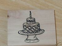 PAPERCRAFT 4 YOU Wood Mounted Rubber Stamp BIRTHDAY CAKE + CANDLE Mary Hughes