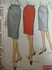 Vintage 60's Simplicity ONE-PIECE SLIM SKIRT w/ KICK PLEAT Sewing Pattern Women