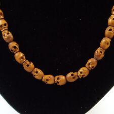 Tibetan Buddhist Wood Wooden Skull Head Beads Necklace 80 Skulls
