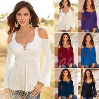 Fashion Women Ladies Long Sleeve Tops Blouse Off Shoulder Casual Autumn T-shirt