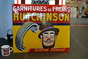 PLAQUE EMAILLEE HUTCHINSON Garnitures de freins station service enamel sign