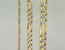 14k Gold over 925 Sterling Silver Diamond Cut Figaro Necklace Bracelet Chain