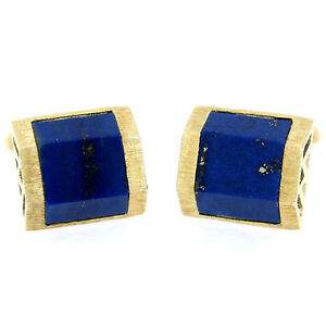 Vintage La Triomphe 14k Yellow Gold & Trapezoidal Cut Blue Lapis Mens Cuff Links