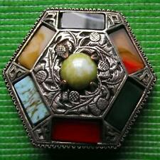 Vintage MIRACLE Scottish Celtic Pebble Brooch Pin & Presentation Pouch A