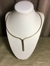 Modernist Gold Tone Collar Necklace & Pendant