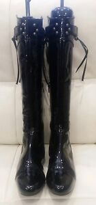 Stylish Rebeca Sanver Patent Leather flat Spanish Made boots - Size 36