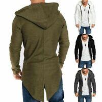 Jacket Zip Long Coat Cardigan Mens Casual Slim Hoodie Sweater Jumper Outwear Up