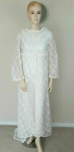 VINTAGE 60S WHITE EMBROIDERED LACE GOTHIC HIPPY PAGAN WICCA WEDDING DRESS 8