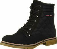 Tommy Hilfiger Womens Onella Fabric Closed Toe Ankle Combat, Black, Size 9.5