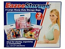 3 x LARGE SPACE SAVING STORAGE BAGS CLOTHES ORGANISER UNDER BED 38CM X 38CM PMS