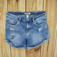 Refuge Jean Shorts Distressed Womens Sz 6 Blue Cotton Blend Faded Denim Pockets