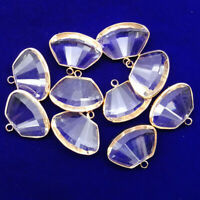 6Pcs  Wrapped Faceted White Crystal Fan-shaped Pendant Bead 23x18x7mm NN1416