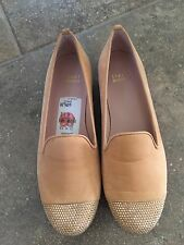 New $345 STUART WEITZMAN Suede Studded Toe Loafers Flats Nude Size 6.5